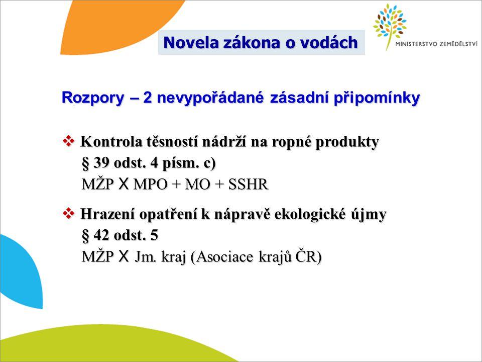 Rozpory – 2 nevypořádané zásadní připomínky  Kontrola těsností nádrží na ropné produkty § 39 odst. 4 písm. c) § 39 odst. 4 písm. c) MŽP X MPO + MO +
