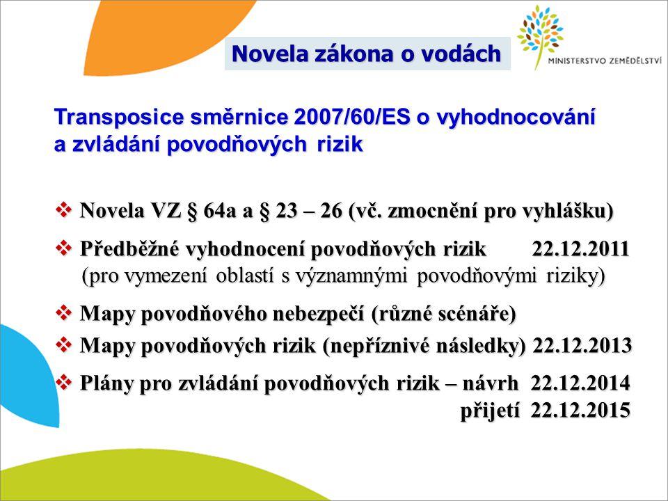 Transposice směrnice 2007/60/ES o vyhodnocování a zvládání povodňových rizik  Novela VZ § 64a a § 23 – 26 (vč. zmocnění pro vyhlášku)  Předběžné vyh