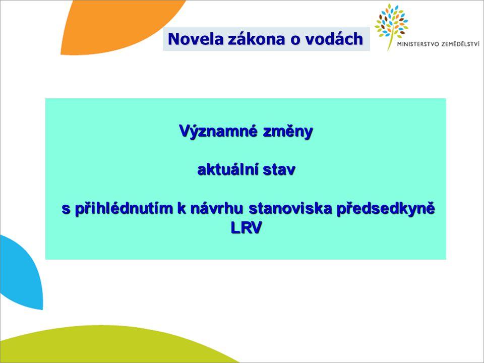 Významné změny aktuální stav s přihlédnutím k návrhu stanoviska předsedkyně LRV s přihlédnutím k návrhu stanoviska předsedkyně LRV