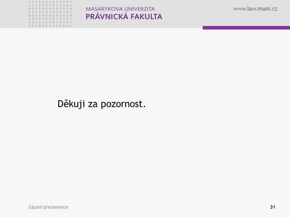 www.law.muni.cz Zápatí prezentace31 Děkuji za pozornost.