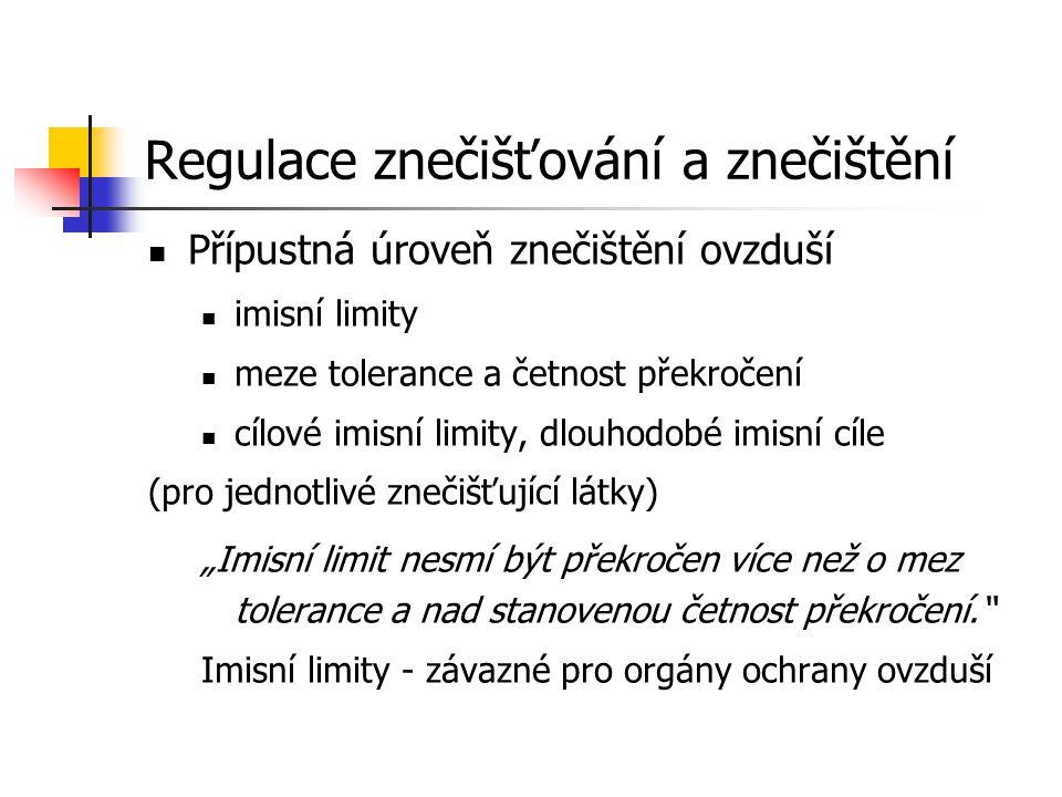 """Regulace znečišťování a znečištění Přípustná úroveň znečištění ovzduší imisní limity meze tolerance a četnost překročení cílové imisní limity, dlouhodobé imisní cíle (pro jednotlivé znečišťující látky) """"Imisní limit nesmí být překročen více než o mez tolerance a nad stanovenou četnost překročení. Imisní limity - závazné pro orgány ochrany ovzduší"""