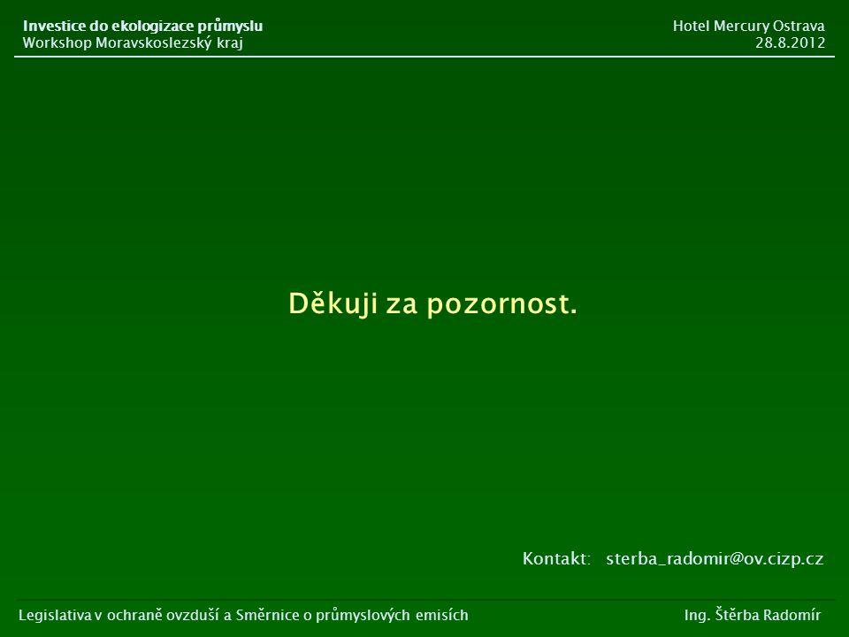 Děkuji za pozornost. Kontakt: sterba_radomir@ov.cizp.cz Legislativa v ochraně ovzduší a Směrnice o průmyslových emisích Ing. Štěrba Radomír Investice