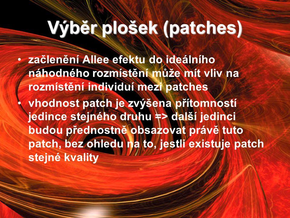 Výběr plošek (patches) začlenění Allee efektu do ideálního náhodného rozmístění může mít vliv na rozmístění individuí mezi patches vhodnost patch je zvýšena přítomností jedince stejného druhu => další jedinci budou přednostně obsazovat právě tuto patch, bez ohledu na to, jestli existuje patch stejné kvality