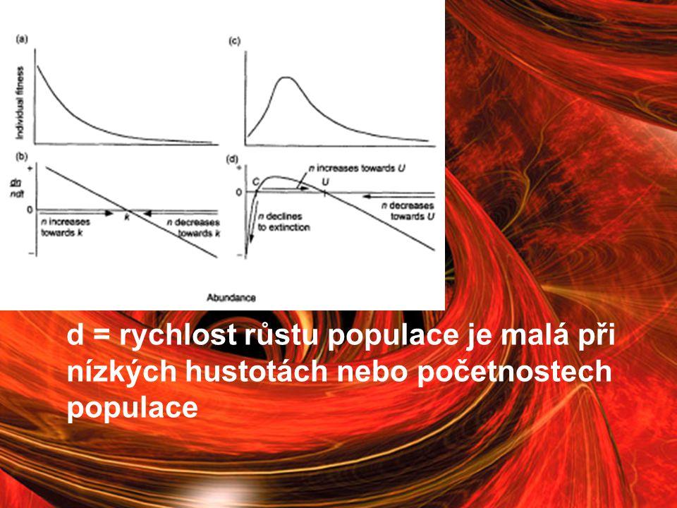 d = rychlost růstu populace je malá při nízkých hustotách nebo početnostech populace