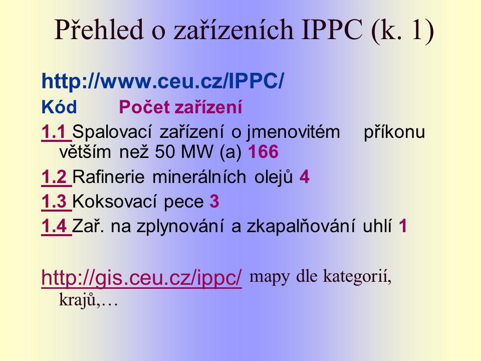 Přehled o zařízeních IPPC (k. 1) http://www.ceu.cz/IPPC/ Kód Počet zařízení 1.1 1.1 Spalovací zařízení o jmenovitém příkonu větším než 50 MW (a) 166 1