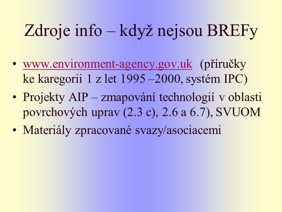 Zdroje info – když nejsou BREFy www.environment-agency.gov.uk (příručky ke karegorii 1 z let 1995 –2000, systém IPC)www.environment-agency.gov.uk Projekty AIP – zmapování technologií v oblasti povrchových uprav (2.3 c), 2.6 a 6.7), SVUOM Materiály zpracované svazy/asociacemi