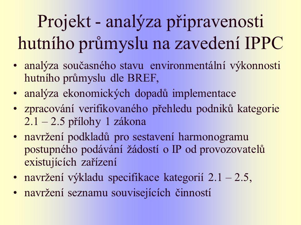 Projekt - analýza připravenosti hutního průmyslu na zavedení IPPC analýza současného stavu environmentální výkonnosti hutního průmyslu dle BREF, analýza ekonomických dopadů implementace zpracování verifikovaného přehledu podniků kategorie 2.1 – 2.5 přílohy 1 zákona navržení podkladů pro sestavení harmonogramu postupného podávání žádostí o IP od provozovatelů existujících zařízení navržení výkladu specifikace kategorií 2.1 – 2.5, navržení seznamu souvisejících činností