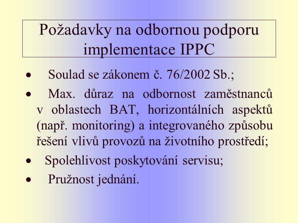 Požadavky na odbornou podporu implementace IPPC  Soulad se zákonem č. 76/2002 Sb.;  Max. důraz na odbornost zaměstnanců v oblastech BAT, horizontáln