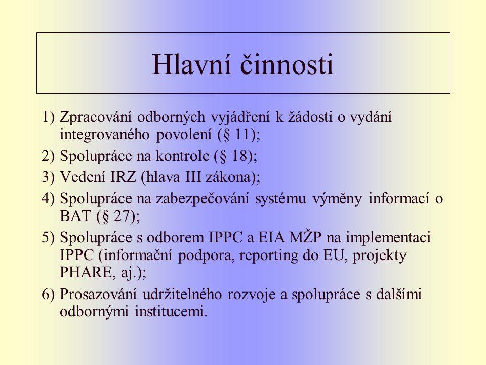 Hlavní činnosti 1)Zpracování odborných vyjádření k žádosti o vydání integrovaného povolení (§ 11); 2)Spolupráce na kontrole (§ 18); 3)Vedení IRZ (hlava III zákona); 4)Spolupráce na zabezpečování systému výměny informací o BAT (§ 27); 5)Spolupráce s odborem IPPC a EIA MŽP na implementaci IPPC (informační podpora, reporting do EU, projekty PHARE, aj.); 6)Prosazování udržitelného rozvoje a spolupráce s dalšími odbornými institucemi.