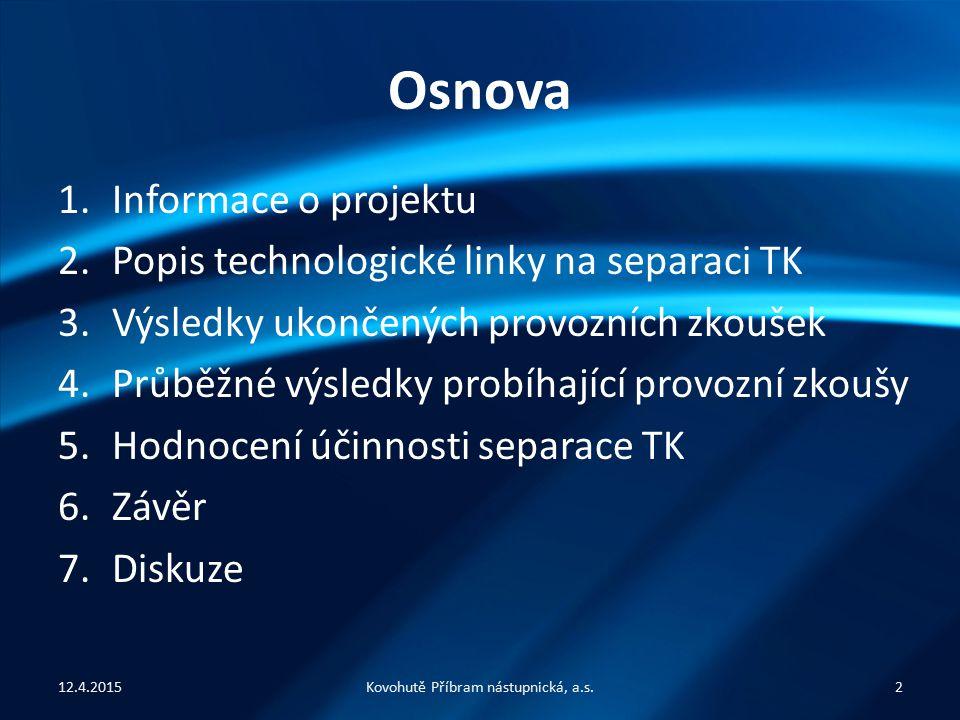 Osnova 1.Informace o projektu 2.Popis technologické linky na separaci TK 3.Výsledky ukončených provozních zkoušek 4.Průběžné výsledky probíhající prov