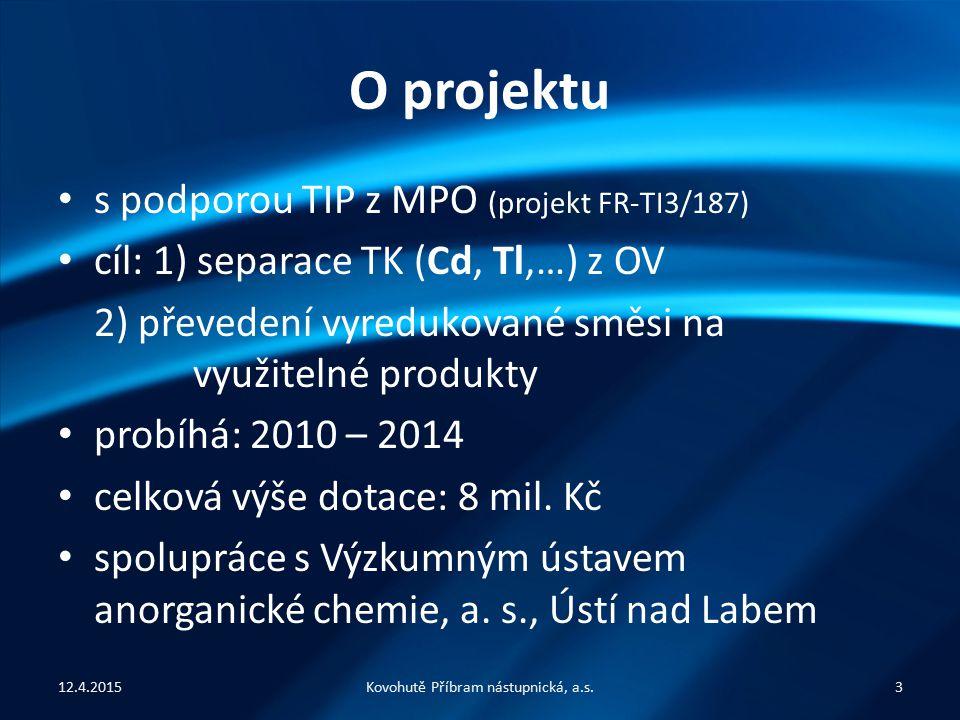 O projektu s podporou TIP z MPO (projekt FR-TI3/187) cíl: 1) separace TK (Cd, Tl,…) z OV 2) převedení vyredukované směsi na využitelné produkty probíhá: 2010 – 2014 celková výše dotace: 8 mil.