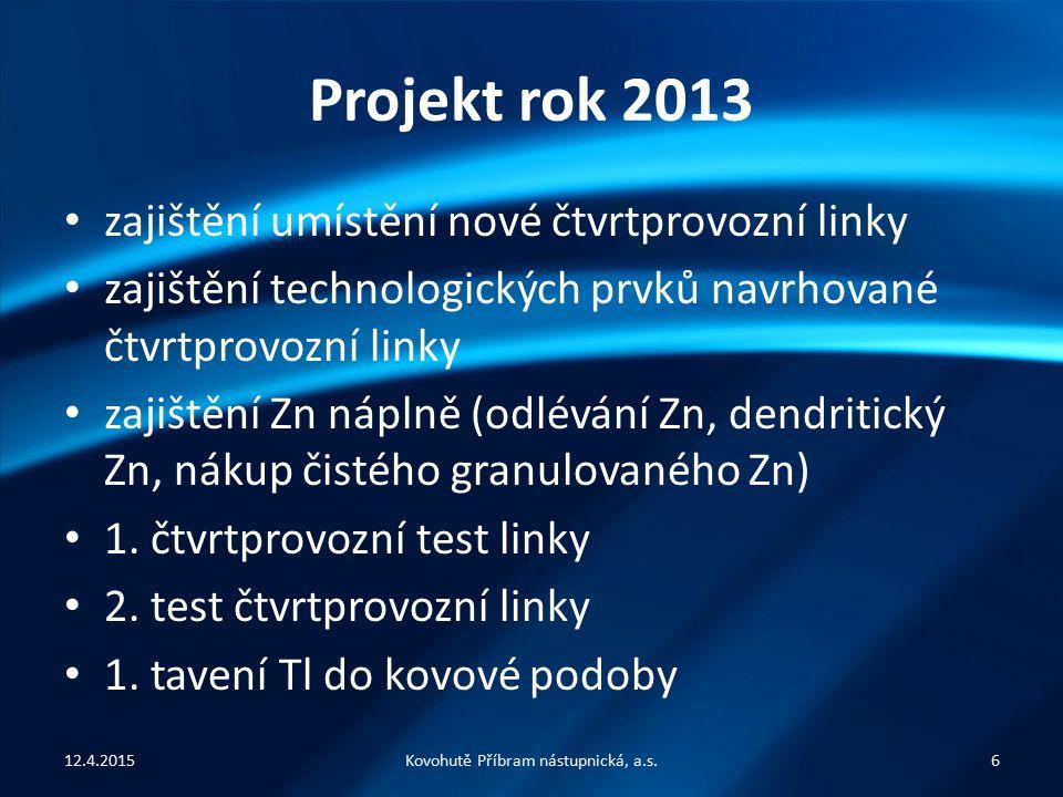 Projekt rok 2013 zajištění umístění nové čtvrtprovozní linky zajištění technologických prvků navrhované čtvrtprovozní linky zajištění Zn náplně (odlévání Zn, dendritický Zn, nákup čistého granulovaného Zn) 1.