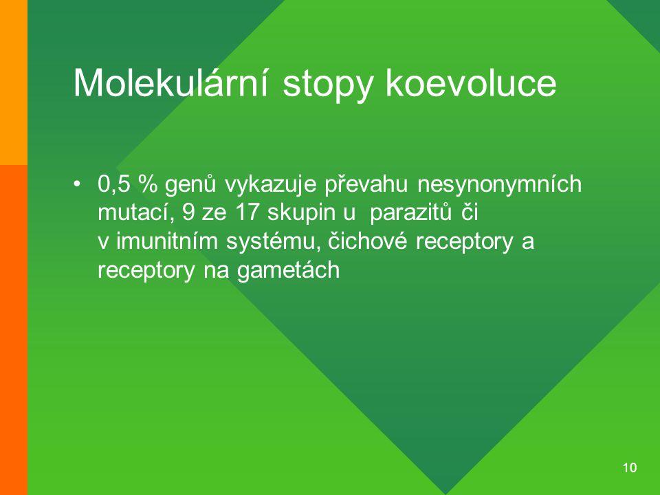 10 Molekulární stopy koevoluce 0,5 % genů vykazuje převahu nesynonymních mutací, 9 ze 17 skupin u parazitů či v imunitním systému, čichové receptory a