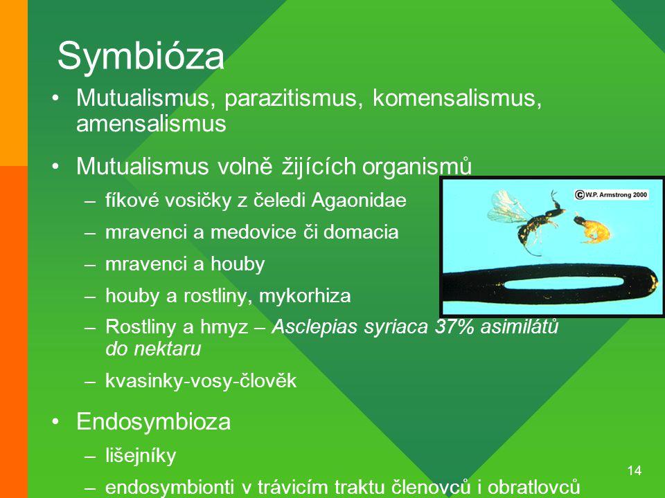 14 Symbióza Mutualismus, parazitismus, komensalismus, amensalismus Mutualismus volně žijících organismů –fíkové vosičky z čeledi Agaonidae –mravenci a