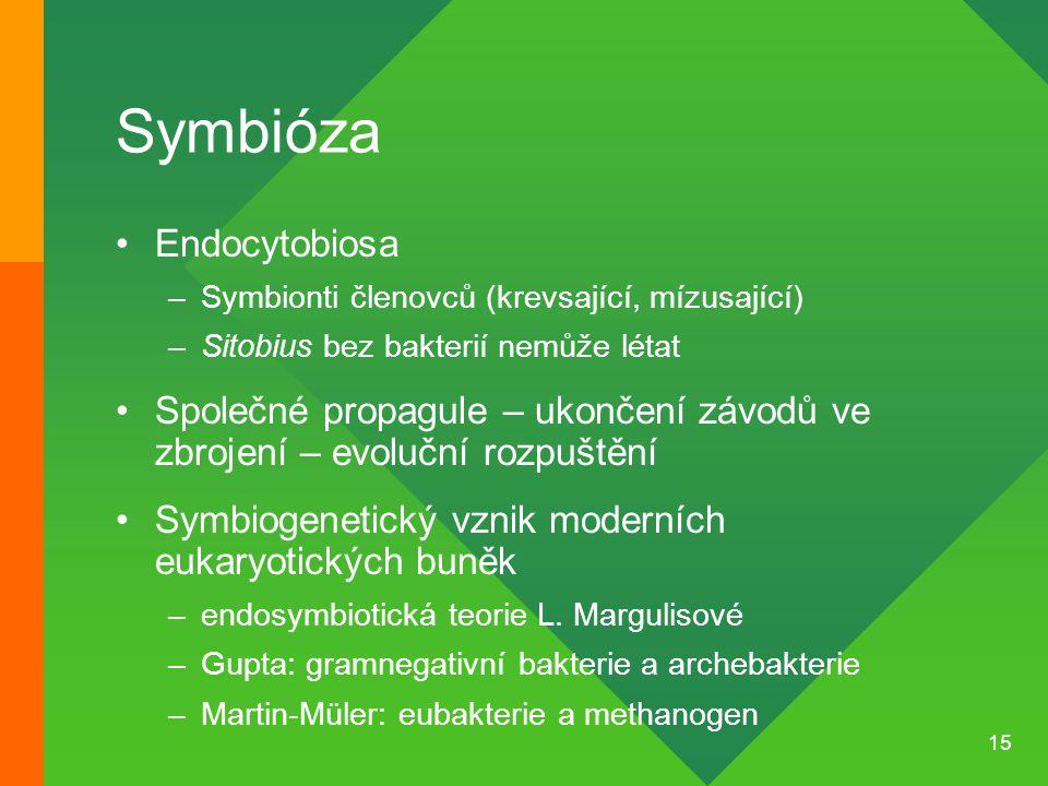 15 Symbióza Endocytobiosa –Symbionti členovců (krevsající, mízusající) –Sitobius bez bakterií nemůže létat Společné propagule – ukončení závodů ve zbr