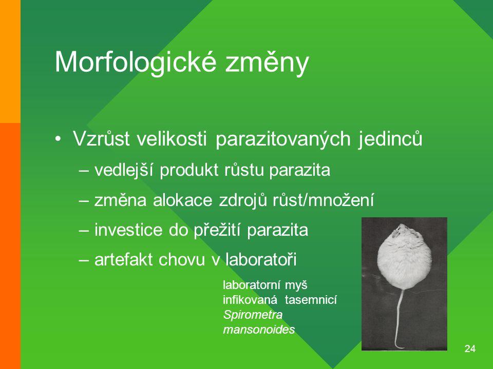 24 Morfologické změny Vzrůst velikosti parazitovaných jedinců –vedlejší produkt růstu parazita –změna alokace zdrojů růst/množení –investice do přežit