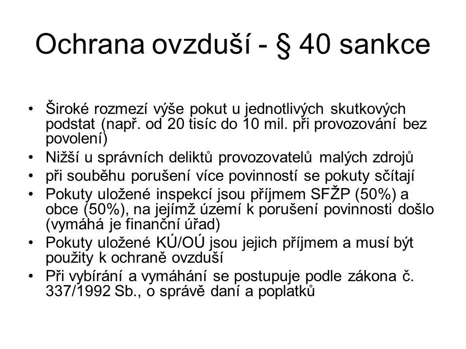 Ochrana ovzduší - § 40 sankce Široké rozmezí výše pokut u jednotlivých skutkových podstat (např. od 20 tisíc do 10 mil. při provozování bez povolení)