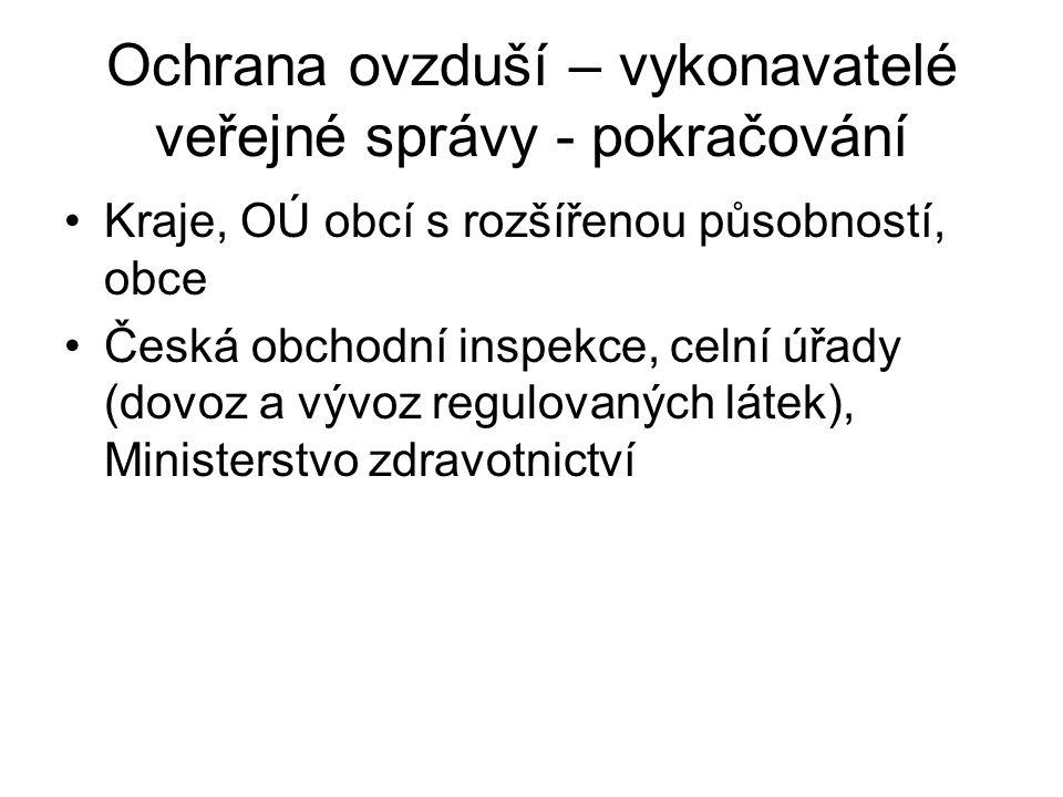 Ochrana ovzduší – vykonavatelé veřejné správy - pokračování Kraje, OÚ obcí s rozšířenou působností, obce Česká obchodní inspekce, celní úřady (dovoz a