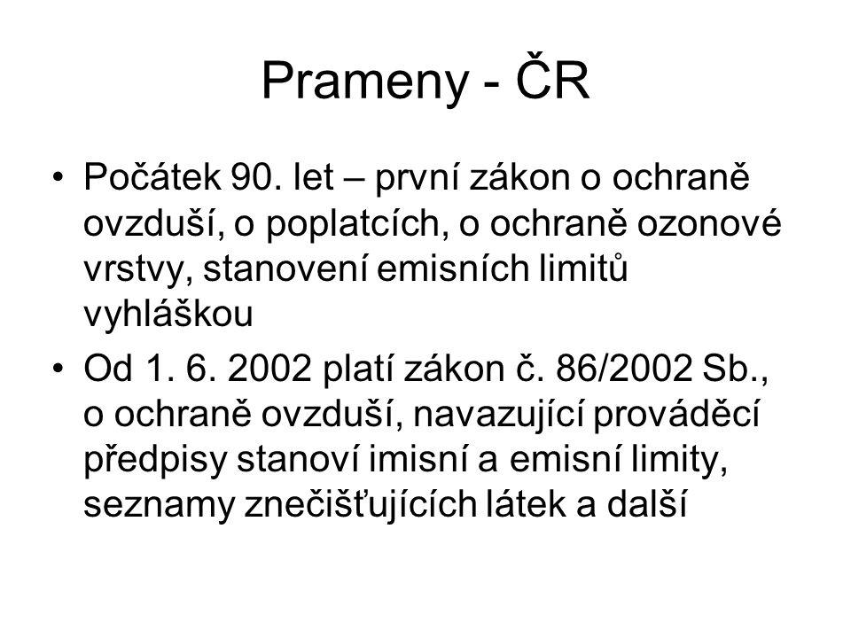 Prameny - ČR Počátek 90. let – první zákon o ochraně ovzduší, o poplatcích, o ochraně ozonové vrstvy, stanovení emisních limitů vyhláškou Od 1. 6. 200