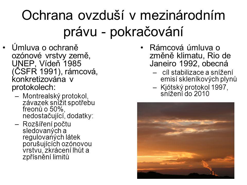 Ochrana ovzduší v mezinárodním právu - pokračování Úmluva o ochraně ozónové vrstvy země, UNEP, Vídeň 1985 (ČSFR 1991), rámcová, konkretizována v proto