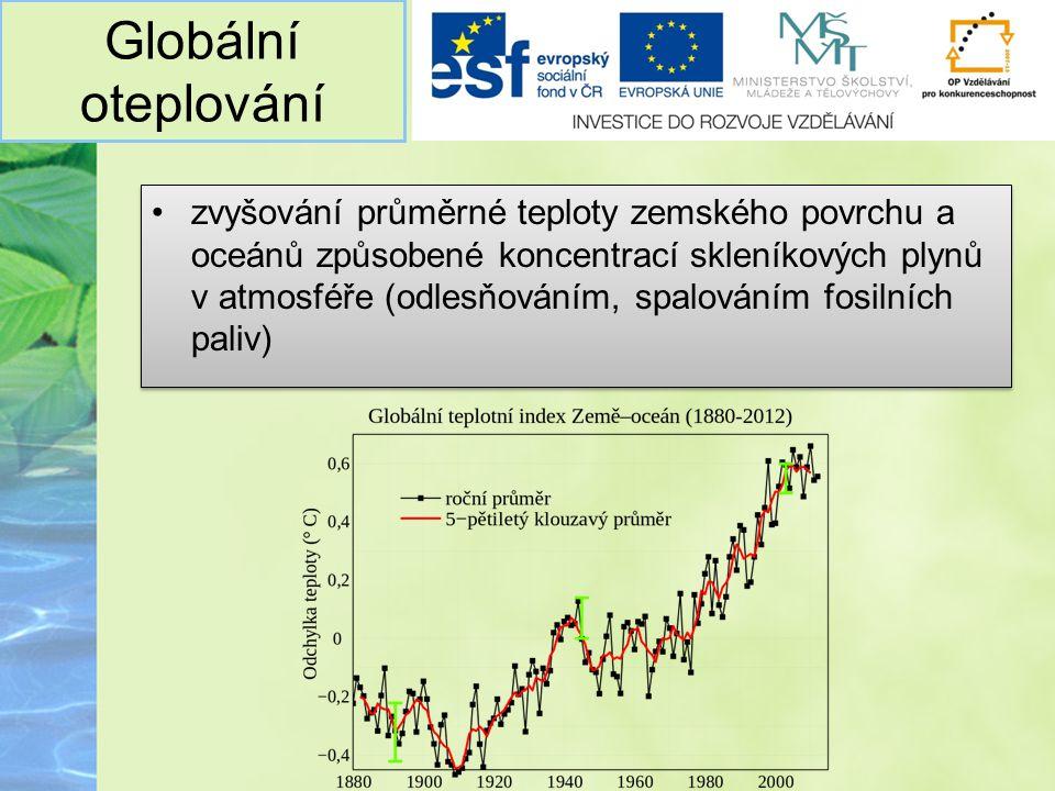 Globální oteplování zvyšování průměrné teploty zemského povrchu a oceánů způsobené koncentrací skleníkových plynů v atmosféře (odlesňováním, spalování