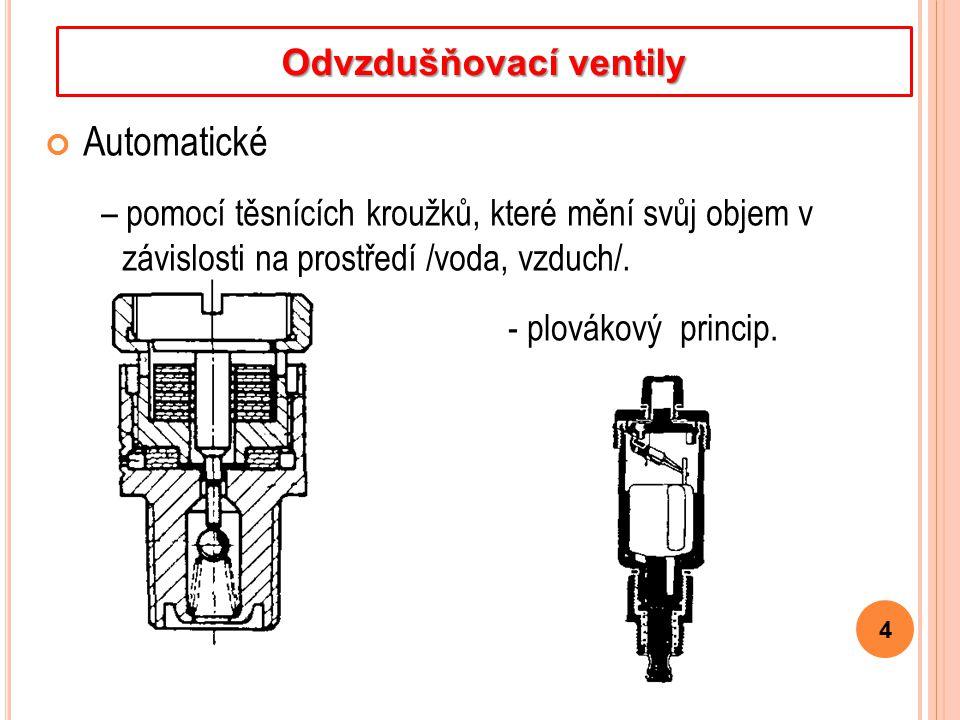 Automatické – pomocí těsnících kroužků, které mění svůj objem v závislosti na prostředí /voda, vzduch/. 4 Odvzdušňovací ventily - plovákový princip.