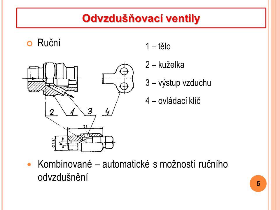 Ruční 5 Odvzdušňovací ventily 1 – tělo 2 – kuželka 3 – výstup vzduchu 4 – ovládací klíč Kombinované – automatické s možností ručního odvzdušnění