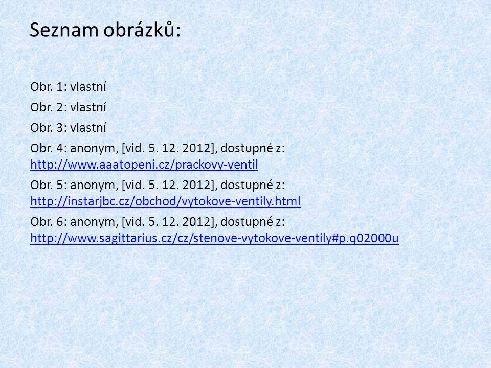 Seznam obrázků: Obr. 1: vlastní Obr. 2: vlastní Obr. 3: vlastní Obr. 4: anonym, [vid. 5. 12. 2012], dostupné z: http://www.aaatopeni.cz/prackovy-venti