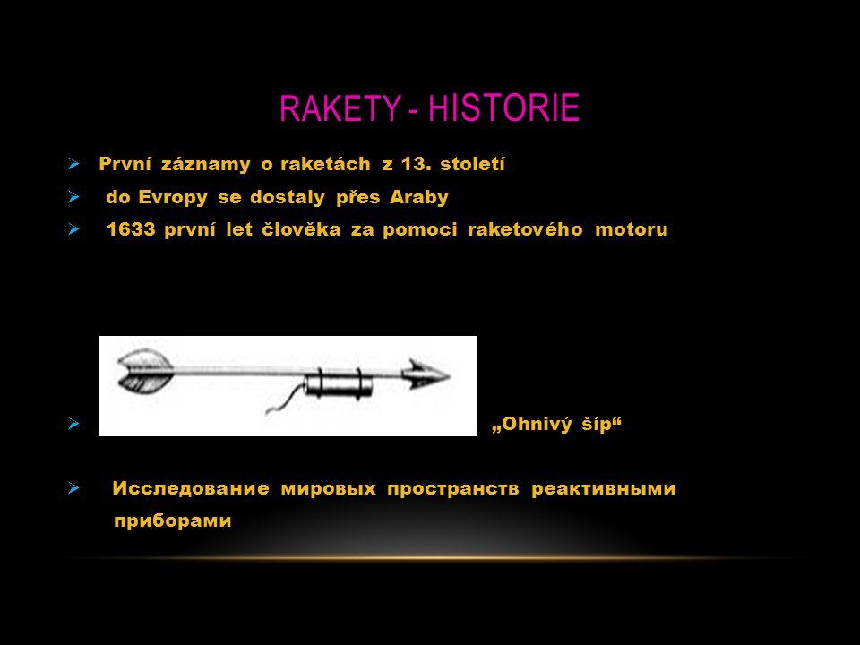 """RAKETY - H ISTORIE  První záznamy o raketách z 13. století  do Evropy se dostaly přes Araby  1633 první let člověka za pomoci raketového motoru  """""""