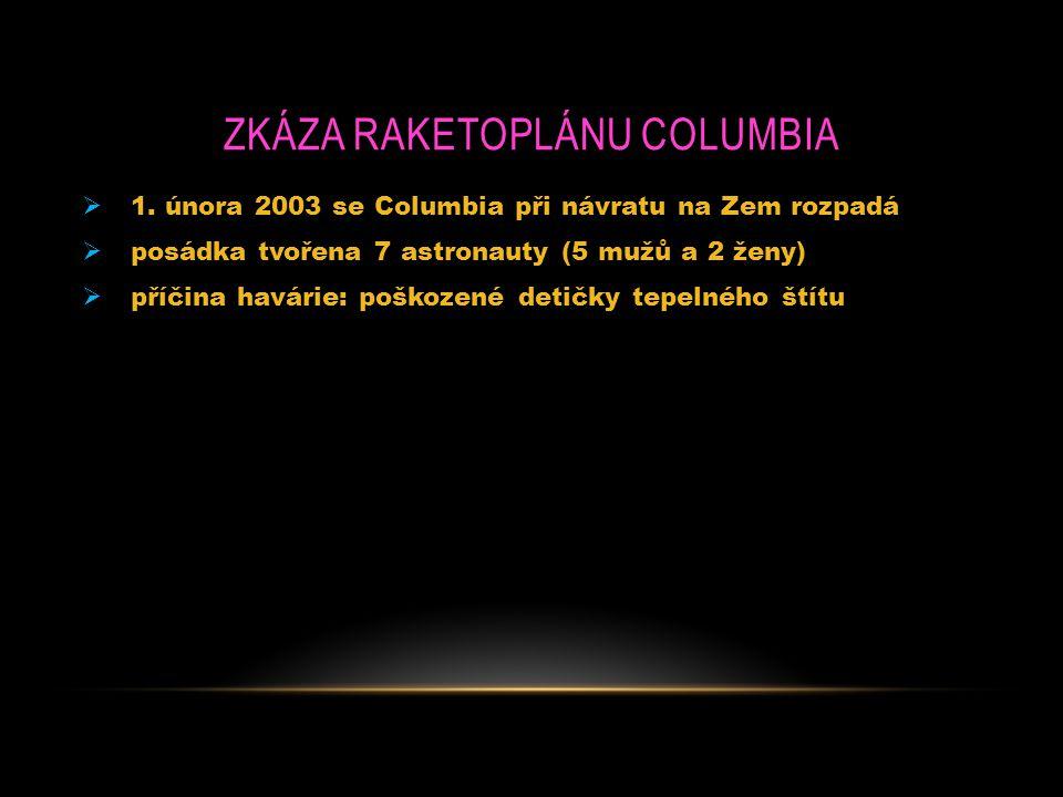 ZKÁZA RAKETOPLÁNU COLUMBIA  1. února 2003 se Columbia při návratu na Zem rozpadá  posádka tvořena 7 astronauty (5 mužů a 2 ženy)  příčina havárie: