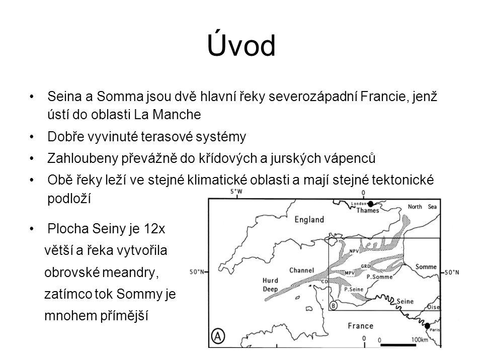 Úvod Seina a Somma jsou dvě hlavní řeky severozápadní Francie, jenž ústí do oblasti La Manche Dobře vyvinuté terasové systémy Zahloubeny převážně do křídových a jurských vápenců Obě řeky leží ve stejné klimatické oblasti a mají stejné tektonické podloží Plocha Seiny je 12x větší a řeka vytvořila obrovské meandry, zatímco tok Sommy je mnohem přímější