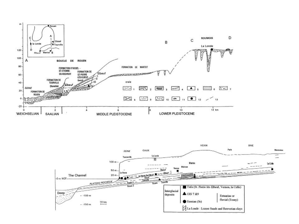 Střední Seina 16 stupňů teras Každý stupeň podloží je pokryt stejným sledem aluviálních nánosů: 1.