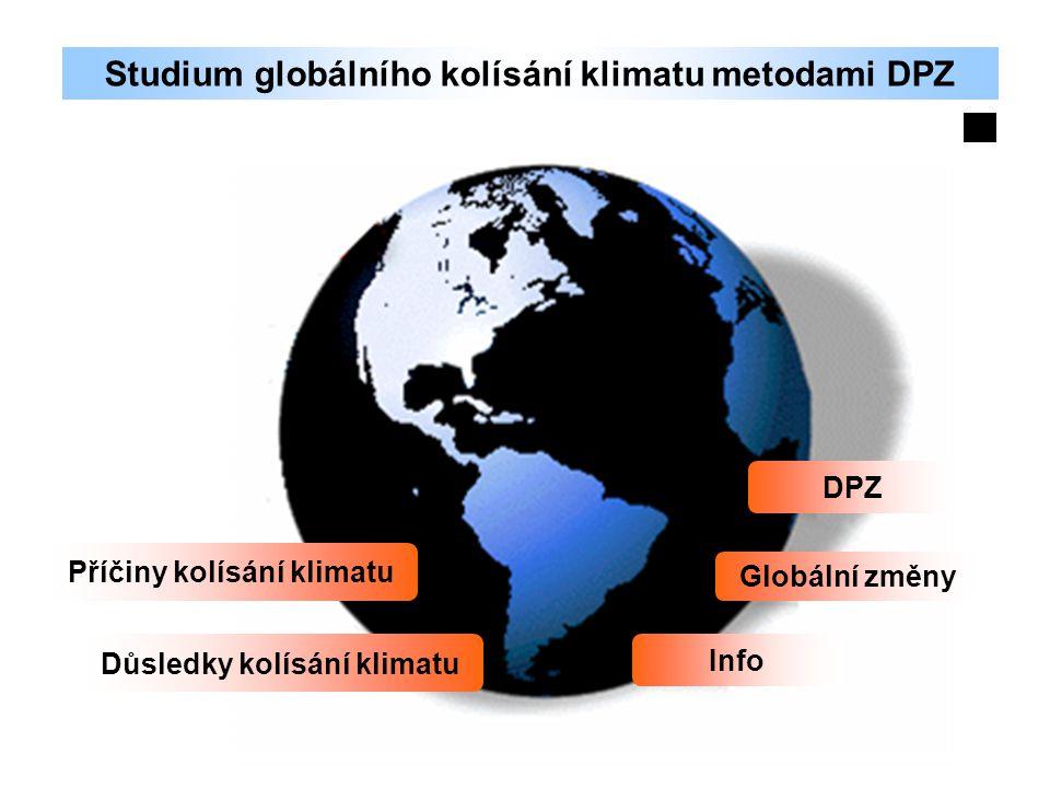 Studium globálního kolísání klimatu metodami DPZ Příčiny kolísání klimatu Důsledky kolísání klimatu DPZ Globální změny Info