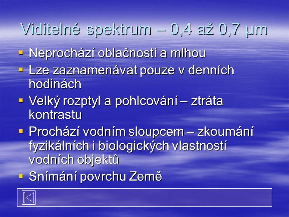  Neprochází oblačností a mlhou  Lze zaznamenávat pouze v denních hodinách  Velký rozptyl a pohlcování – ztráta kontrastu  Prochází vodním sloupcem – zkoumání fyzikálních i biologických vlastností vodních objektů  Snímání povrchu Země Viditelné spektrum – 0,4 až 0,7 μm