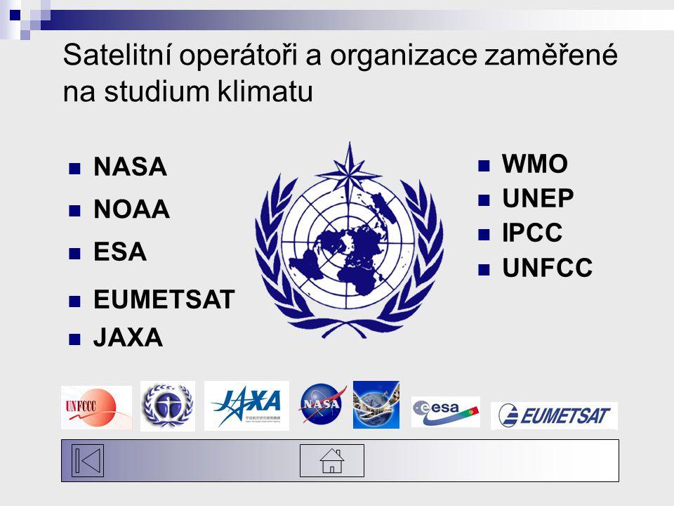 Satelitní operátoři a organizace zaměřené na studium klimatu WMO UNEP IPCC UNFCC NOAA ESA EUMETSAT JAXA NASA