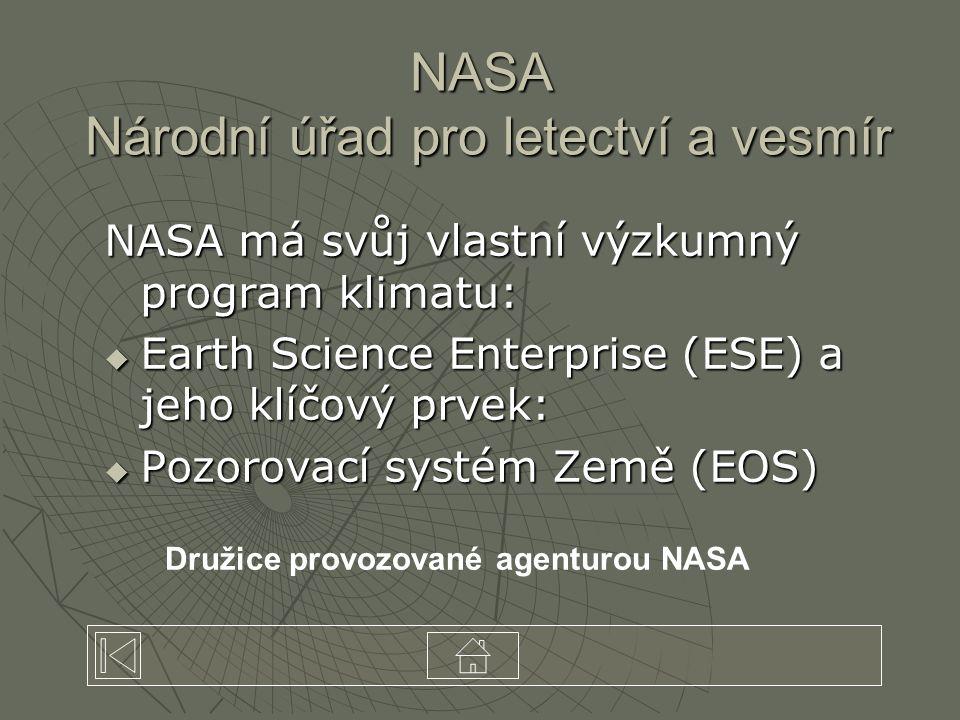 NASA Národní úřad pro letectví a vesmír NASA má svůj vlastní výzkumný program klimatu:  Earth Science Enterprise (ESE) a jeho klíčový prvek:  Pozorovací systém Země (EOS) Družice provozované agenturou NASA