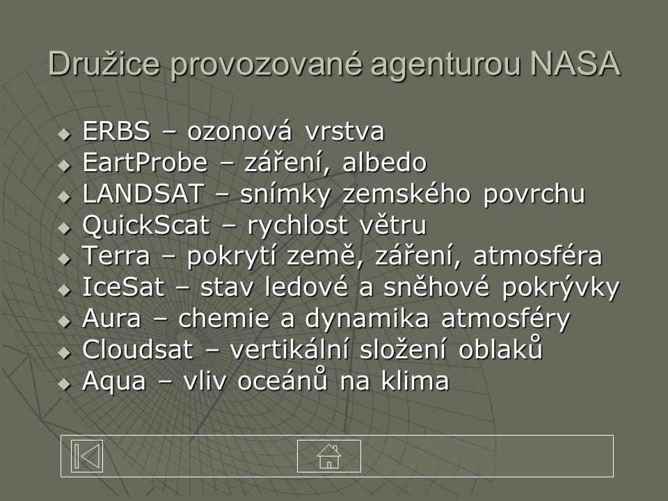  ERBS – ozonová vrstva  EartProbe – záření, albedo  LANDSAT – snímky zemského povrchu  QuickScat – rychlost větru  Terra – pokrytí země, záření,