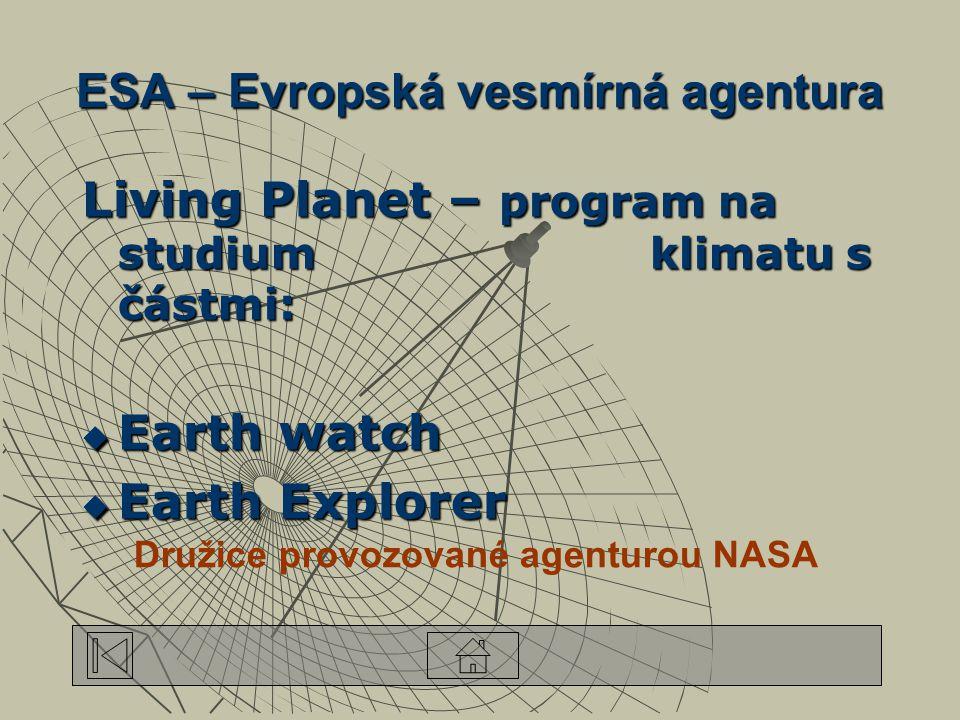 ESA – Evropská vesmírná agentura Living Planet – program na studium klimatu s částmi:  Earth watch  Earth Explorer Družice provozované agenturou NASA