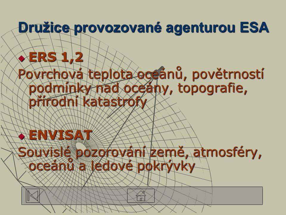 Družice provozované agenturou ESA  ERS 1,2 Povrchová teplota oceánů, povětrností podmínky nad oceány, topografie, přírodní katastrofy  ENVISAT Souvislé pozorování země, atmosféry, oceánů a ledové pokrývky