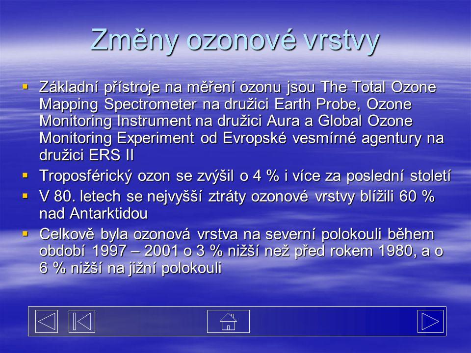 Změny ozonové vrstvy  Základní přístroje na měření ozonu jsou The Total Ozone Mapping Spectrometer na družici Earth Probe, Ozone Monitoring Instrument na družici Aura a Global Ozone Monitoring Experiment od Evropské vesmírné agentury na družici ERS II  Troposférický ozon se zvýšil o 4 % i více za poslední století  V 80.