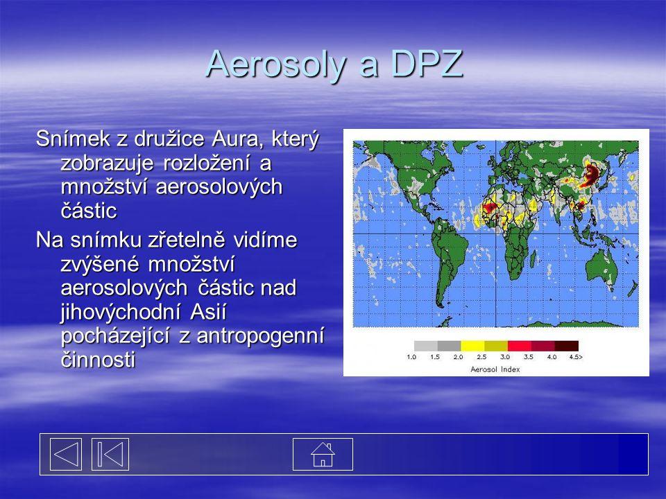 Aerosoly a DPZ Snímek z družice Aura, který zobrazuje rozložení a množství aerosolových částic Na snímku zřetelně vidíme zvýšené množství aerosolových částic nad jihovýchodní Asií pocházející z antropogenní činnosti