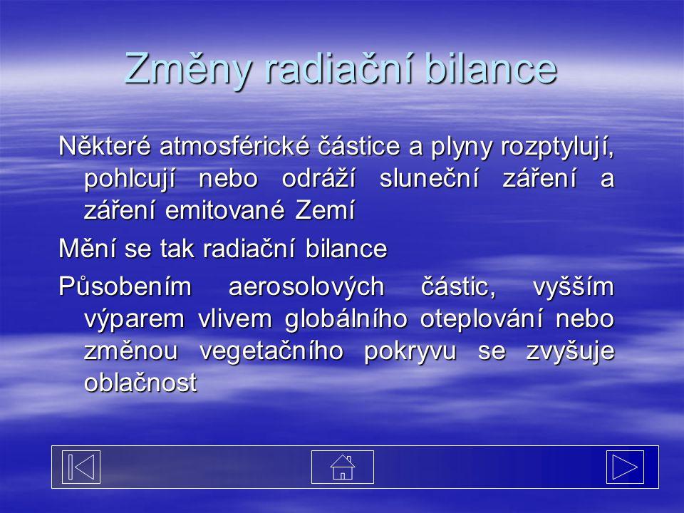 Změny radiační bilance Některé atmosférické částice a plyny rozptylují, pohlcují nebo odráží sluneční záření a záření emitované Zemí Mění se tak radia