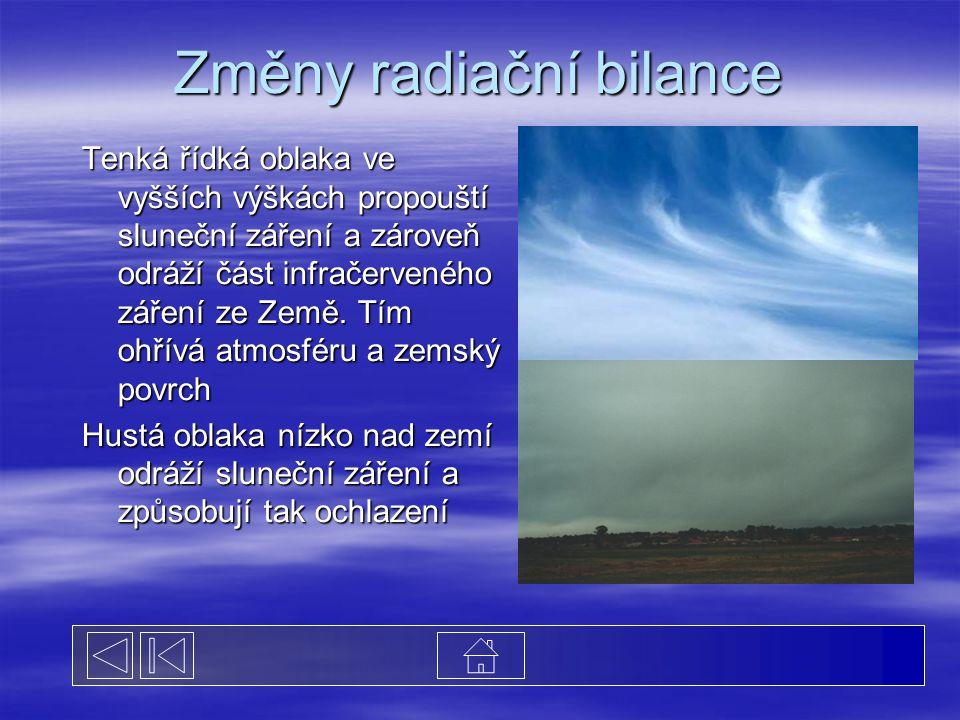 Změny radiační bilance Tenká řídká oblaka ve vyšších výškách propouští sluneční záření a zároveň odráží část infračerveného záření ze Země. Tím ohřívá