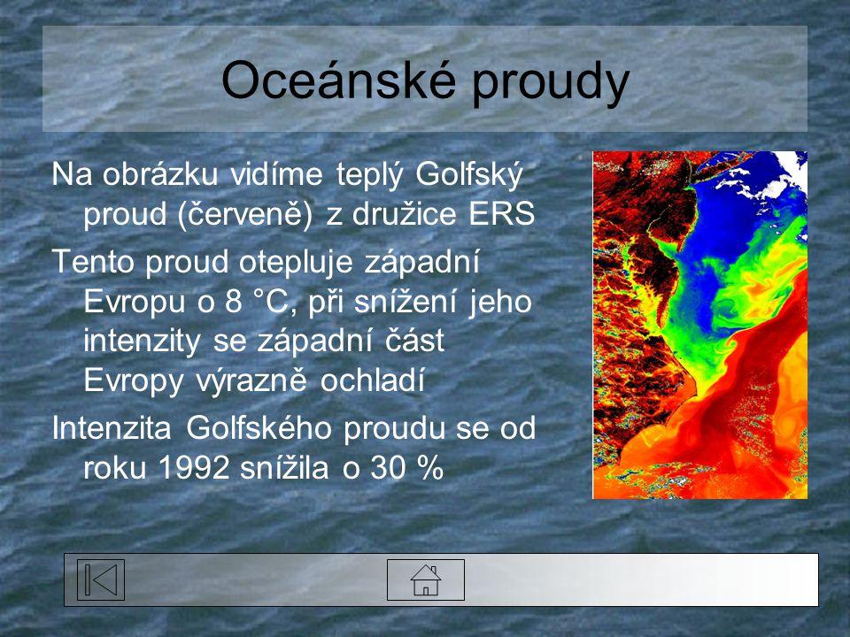 Oceánské proudy Na obrázku vidíme teplý Golfský proud (červeně) z družice ERS Tento proud otepluje západní Evropu o 8 °C, při snížení jeho intenzity se západní část Evropy výrazně ochladí Intenzita Golfského proudu se od roku 1992 snížila o 30 %