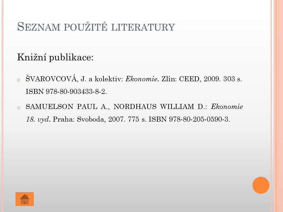 S EZNAM POUŽITÉ LITERATURY Knižní publikace: o ŠVAROVCOVÁ, J. a kolektiv: Ekonomie. Zlín: CEED, 2009. 303 s. ISBN 978-80-903433-8-2. o SAMUELSON PAUL