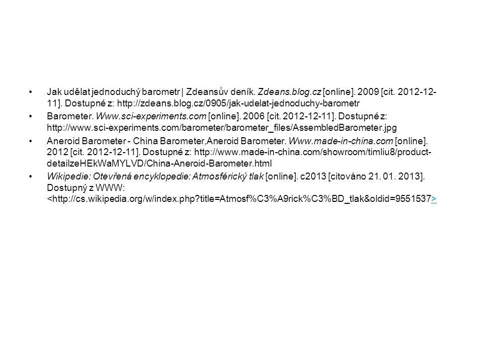 Jak udělat jednoduchý barometr | Zdeansův deník. Zdeans.blog.cz [online]. 2009 [cit. 2012-12- 11]. Dostupné z: http://zdeans.blog.cz/0905/jak-udelat-j