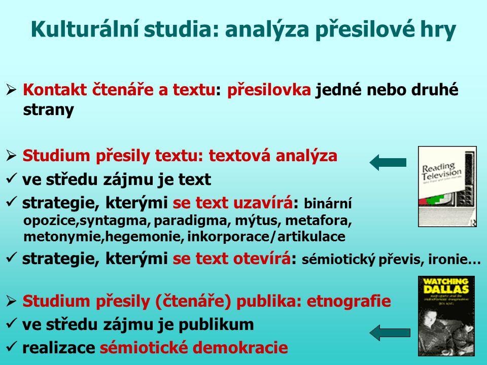 Kulturální studia: analýza přesilové hry  Kontakt čtenáře a textu: přesilovka jedné nebo druhé strany  Studium přesily textu: textová analýza ve stř