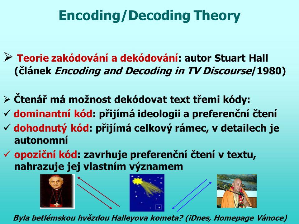 Encoding/Decoding Theory  Teorie zakódování a dekódování: autor Stuart Hall (článek Encoding and Decoding in TV Discourse/1980)  Čtenář má možnost d