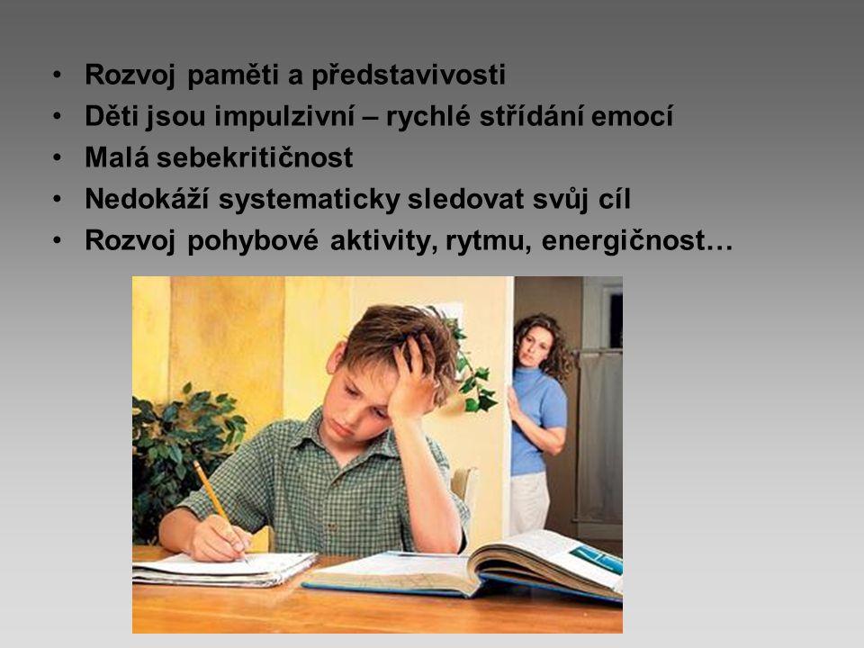 Rozvoj paměti a představivosti Děti jsou impulzivní – rychlé střídání emocí Malá sebekritičnost Nedokáží systematicky sledovat svůj cíl Rozvoj pohybové aktivity, rytmu, energičnost…