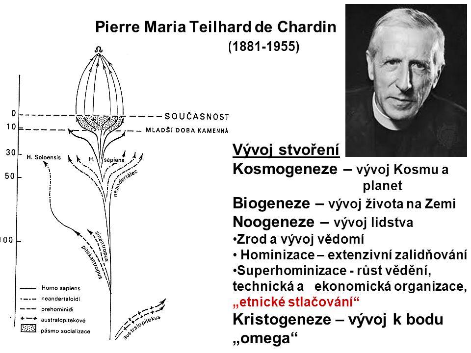 """Pierre Maria Teilhard de Chardin (1881-1955) Vývoj stvoření Kosmogeneze – vývoj Kosmu a planet Biogeneze – vývoj života na Zemi Noogeneze – vývoj lidstva Zrod a vývoj vědomí Hominizace – extenzivní zalidňování Superhominizace - růst vědění, technická a ekonomická organizace, """"etnické stlačování Kristogeneze – vývoj k bodu """"omega 10"""